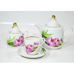 7.Сервиз чайный 14 предметов ф. Голубка рис. Бамбуковая орхидея (1 сорт)