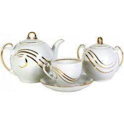 6.Сервиз чайный 14 предметов ф. Гармония рис. Золотая волна (1 сорт)