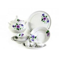 Сервиз столовый 37 предметов 2 вида тарелок ф. Идиллия рис. Анютины глазки (1 сорт)