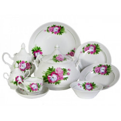 Набор столовой посуды 34 предмета ф. Идиллия рис. Пион (1 сорт)