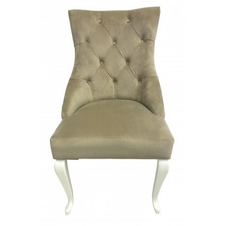 Полукресло (стул мягкий) HILTON (белый глянец / беж)