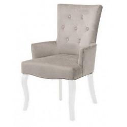 Полукресло (стул мягкий) BOSCO (белый лак / серый)