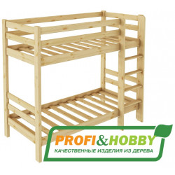 Кровать двухъярусная P&H (900 х 2000) сосна, без покраски