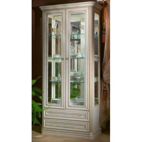 Шкаф-витрина 2-дверная из серии НГ-92 в цвете белая эмаль