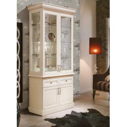 Шкаф с витриной 2-дверный Олимпия Высокий И005.26 в эмали