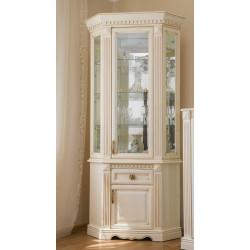 Шкаф с витриной угловой Афина И010.28 в эмали (слоновая кость)