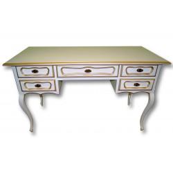 Стол письменный Авиньон большой в цвете белая эмаль с золотой патиной