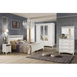 Спальня Венеция с 4-дверным шкафом и кроватью с мягким изголовьем в эмали
