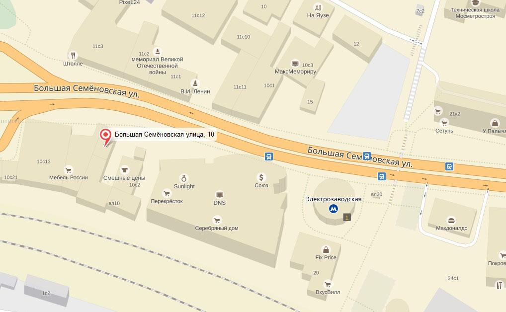 схема проезда в зал на Б.Семеновской улице